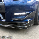 Nissan GT R35 Two piece M style carbon fibre front bumper canards DBA - 4 Second Racing Club