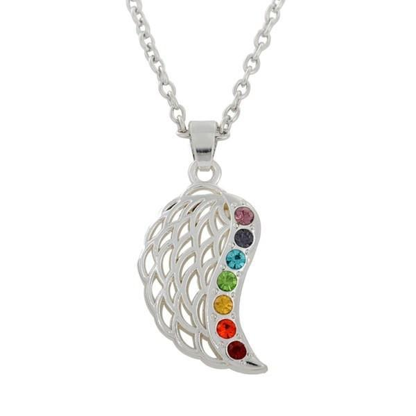 7 chakra angel wings pendant with necklace world of chakra wellness 7 chakra angel wings pendant with necklace silver plated aloadofball Choice Image