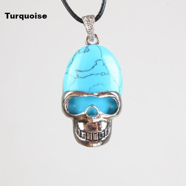 Skull natural stone pendant with necklace world of chakra wellness skull natural stone pendant with necklace turquoise chain aloadofball Image collections