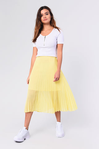 Glamorous Pleated Yellow Midi Skirt