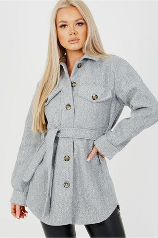 Oversized Belted Shacket