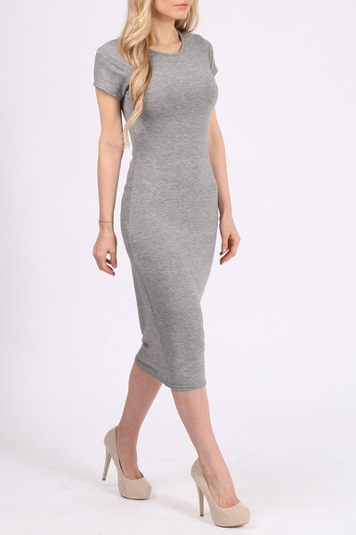 Basic Grey Bodycon Jersey Midi Dress