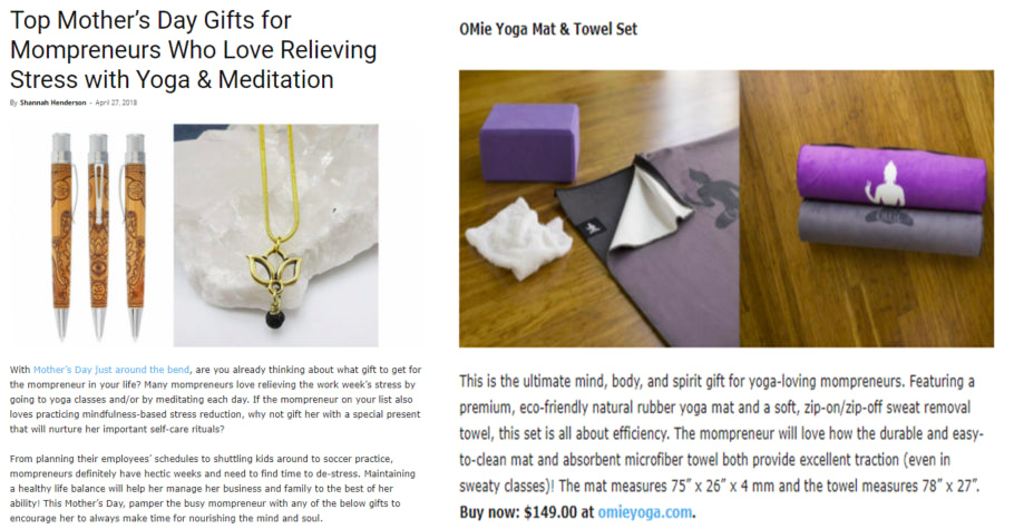 "OMie Yoga Mats Featured in Home Business Magazines ""Top Mother's Day Gifts for Mompreneurs Who Love Relieving Stress with Yoga & Meditation"""