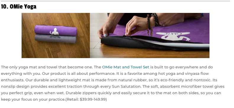 OMie Yoga featured in SoCal Magazine's 20 Great Products for Last Minute Gifts & Stocking Stuffers