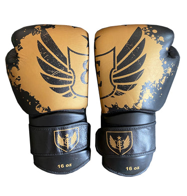 Gauntlet - Muay Thai Boxing Gloves - Black and Gold