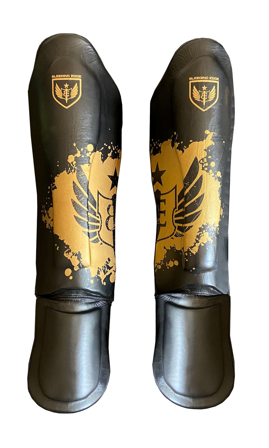 The Dagger - Muay Thai Shin Guards - Back and Gold