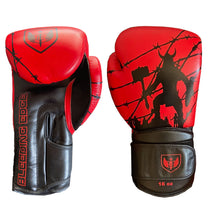 Load image into Gallery viewer, Bleeding Edge - War Hammer Red and Black- Muay Thai Gloves