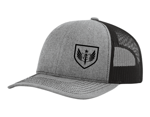 BE Badge Trucker Hat (heather-grey/black)