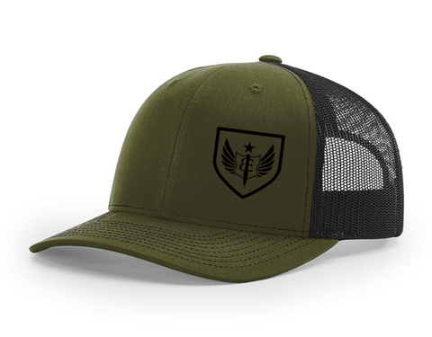 BE Badge Trucker Hat (military-green/black)