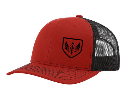 BE Badge Trucker Hat (red/black)