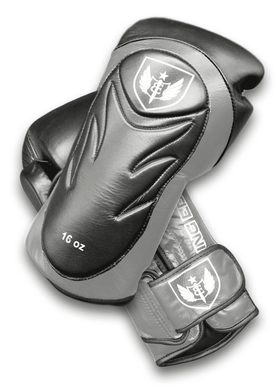 Saw Tooth - Muay Thai Boxing Gloves  -  Black and Gray