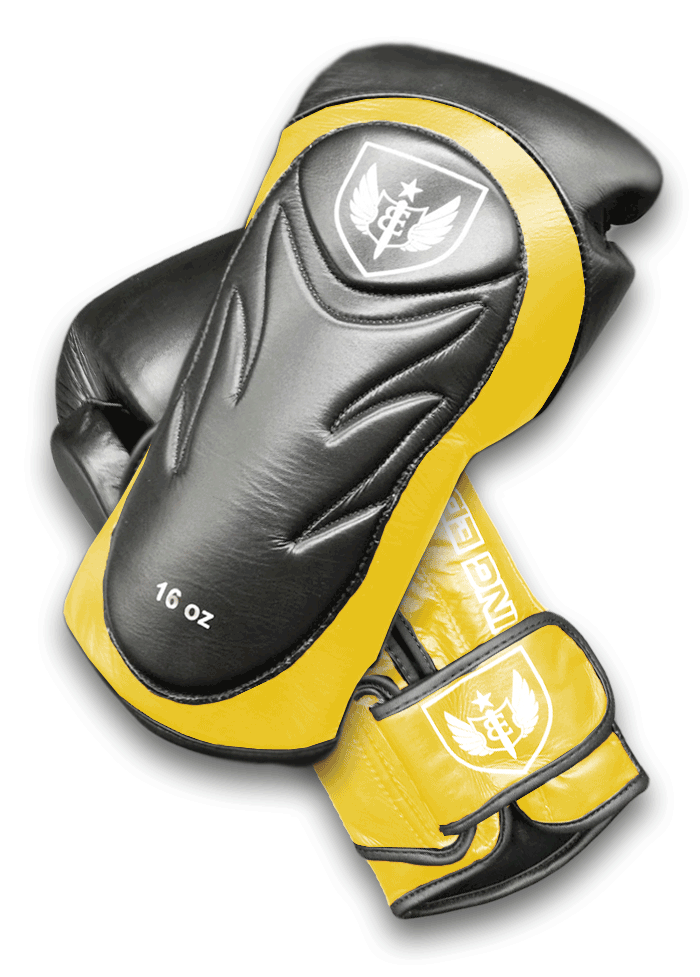Saw Tooth - Muay Thai Boxing Gloves - Black and Yellow