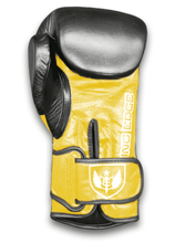 Load image into Gallery viewer, Saw Tooth - Muay Thai Boxing Gloves - Black and Yellow