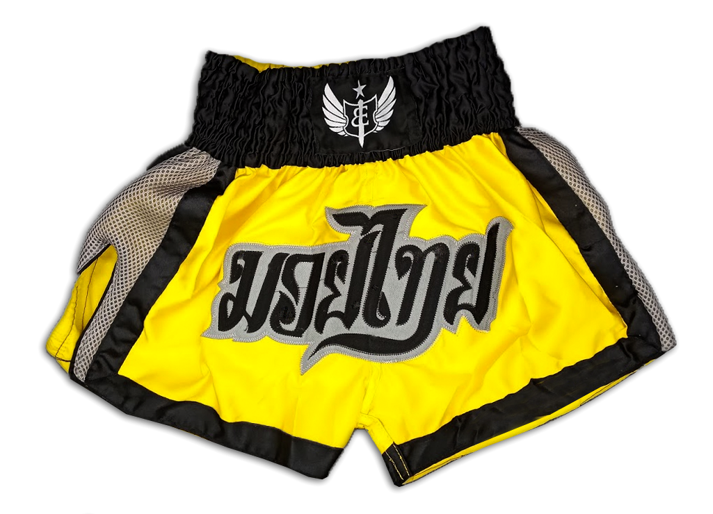 Muay Thai Shorts - Yellow/Grey/Black