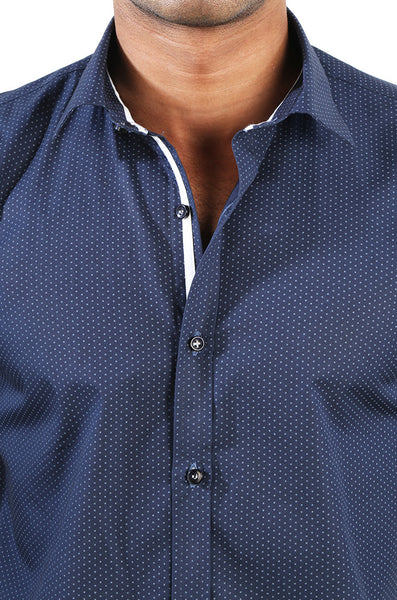Solid Blue Dotted Shirt