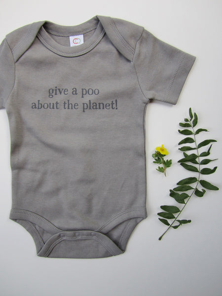 "Organic Baby Bodysuit – ""Give a Poo About the Planet!"" – In Storm"
