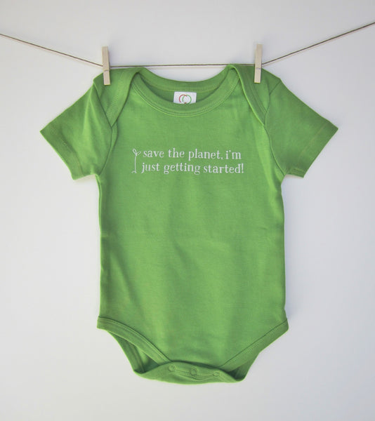 "Organic Baby Bodysuit – ""Save the Planet, I'm Just Getting Started!"" – In Basil"