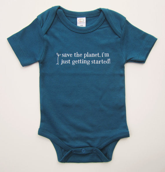 "Organic Baby Bodysuit – ""Save the Planet, I'm Just Getting Started!"" – In Mediterranean (Dark Sea Blue)"