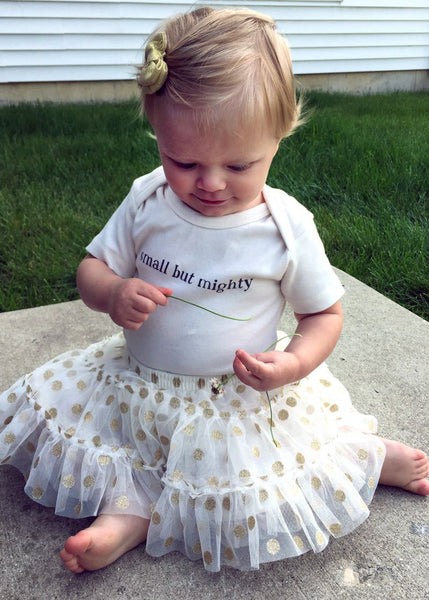 "Organic baby bodysuit – ""Small But Mighty"" –  in Tofu"
