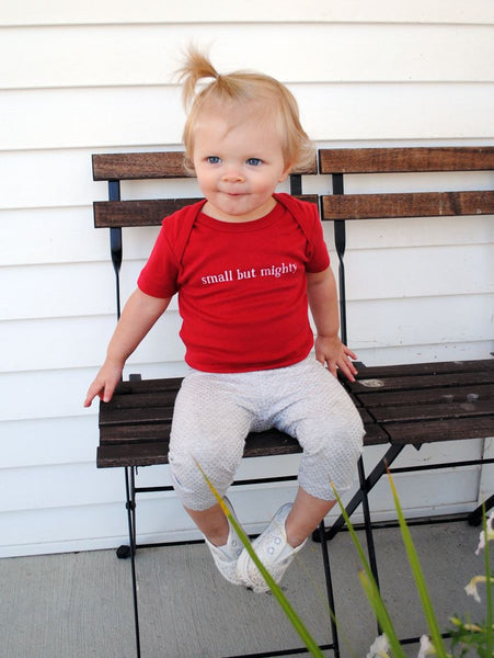 "Organic Baby Bodysuit – ""Small But Mighty"" – In Radish"