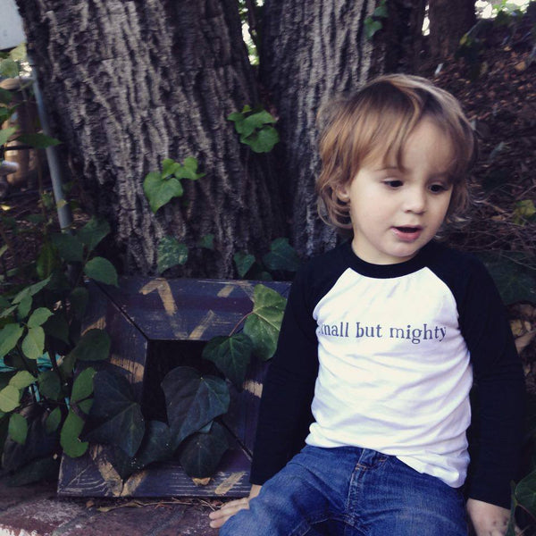 "Organic Long-Sleeve Toddler Shirt – ""Small But Mighty"" – In Black and White"