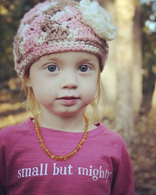 "Organic Long-Sleeve Toddler Shirt – ""Small But Mighty"" – In Peony"