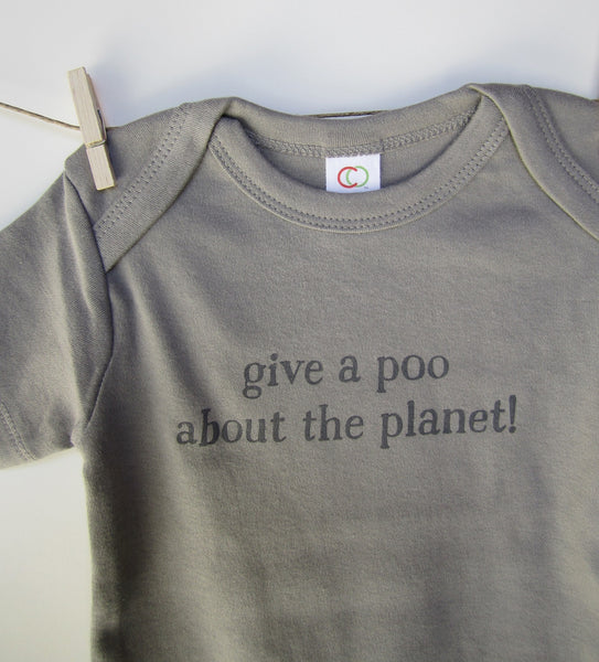 "Organic Toddler T-Shirt – ""Give a Poo About the Planet!"" – In Storm"