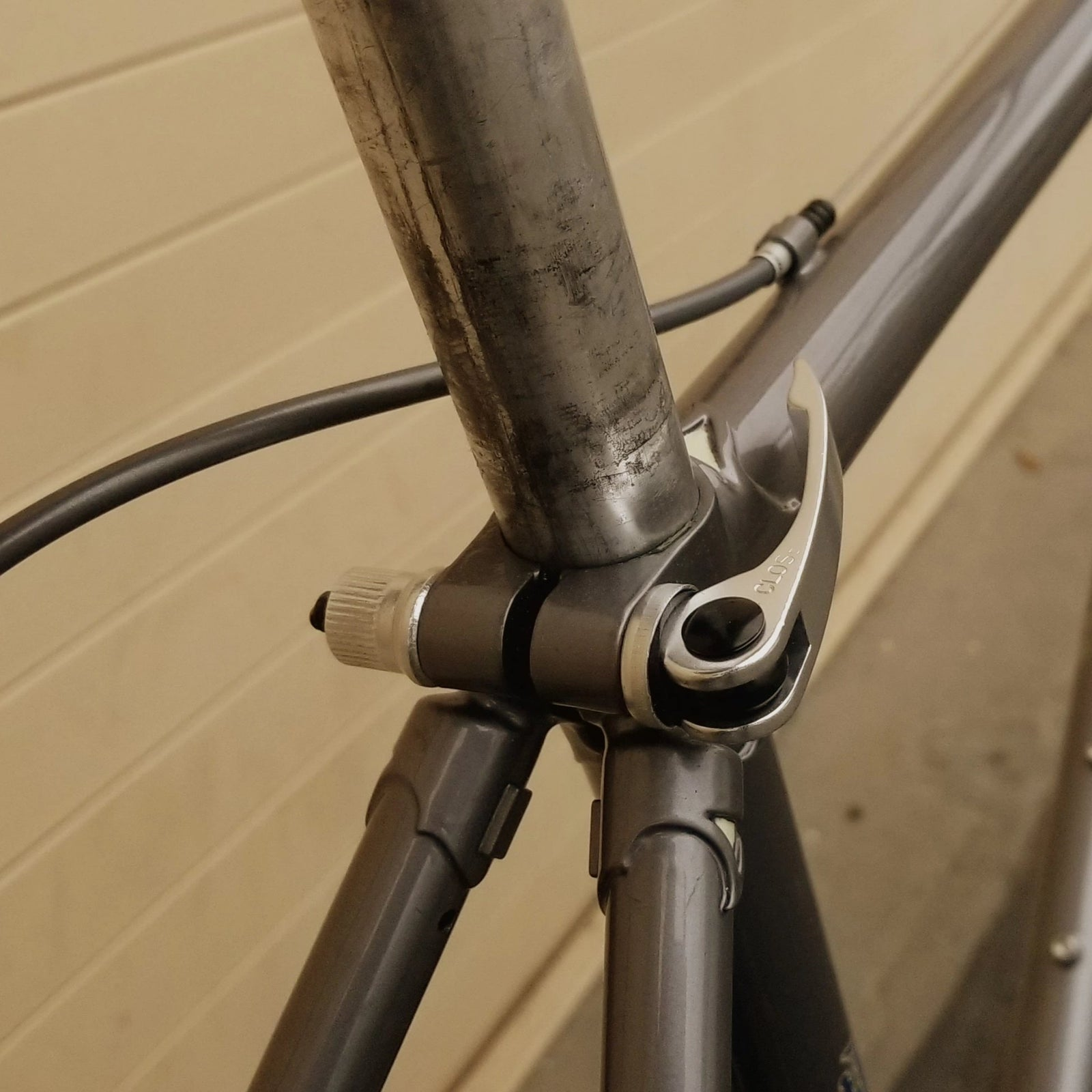 Seat post binder Quick Release lever, aluminum, silver