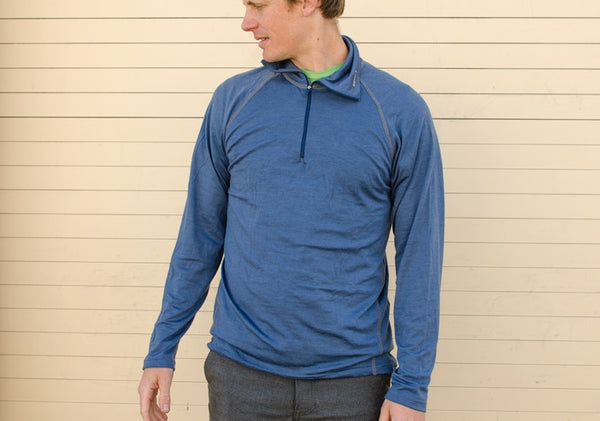 Devold Wool LS Breeze Man Zip Neck - Blue