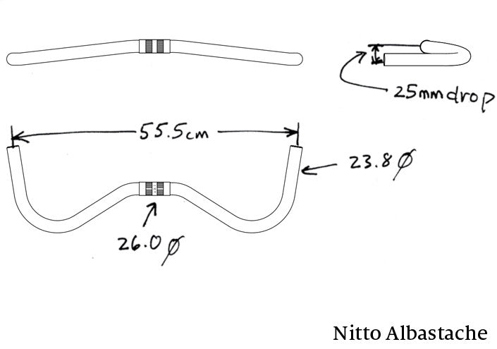 Handlebar - Nitto Albastache (aka new Moustache) Bar 26.0 (RM017)