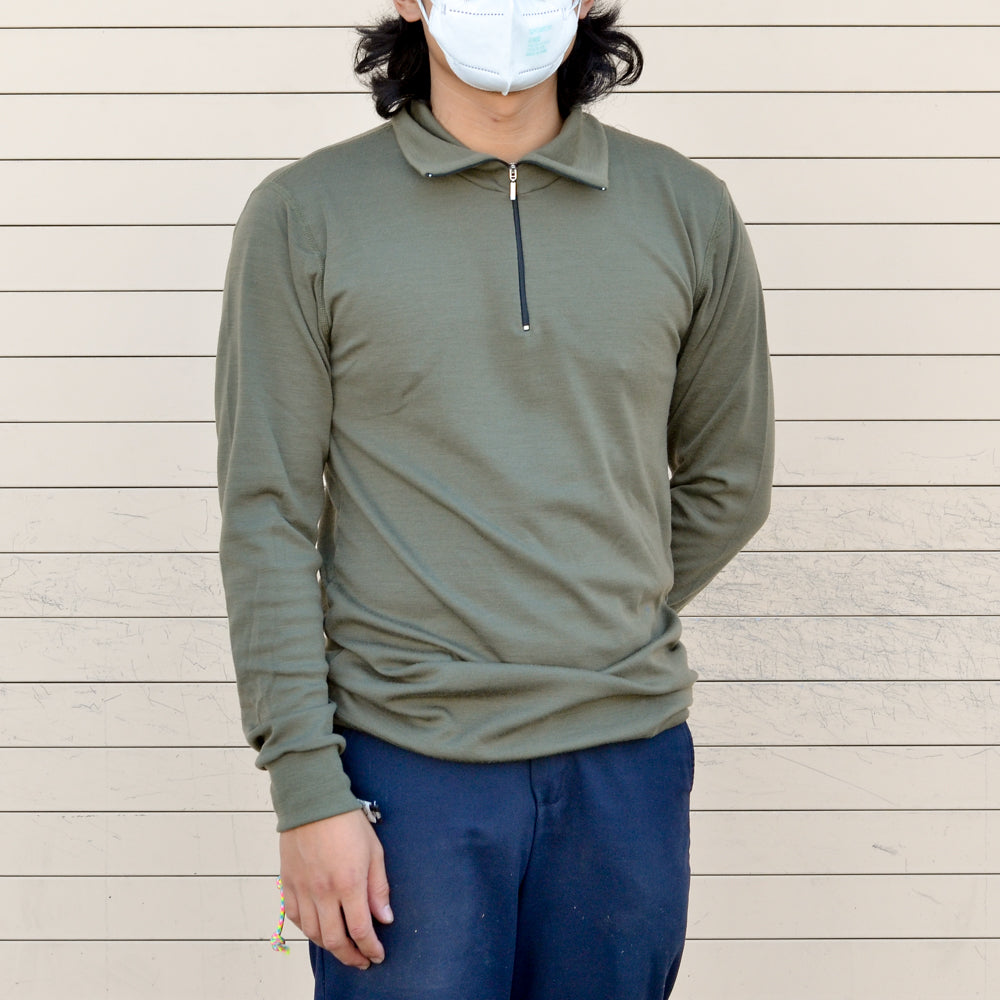 Shirt - Aussie Wool LS ZIP - Olive