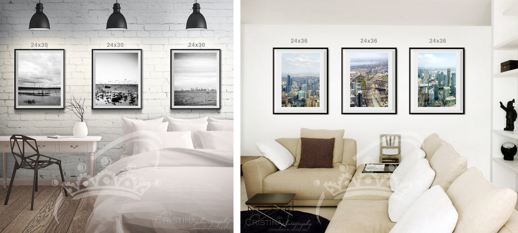 Wall display framed photographs triptychs | Cristina Photography