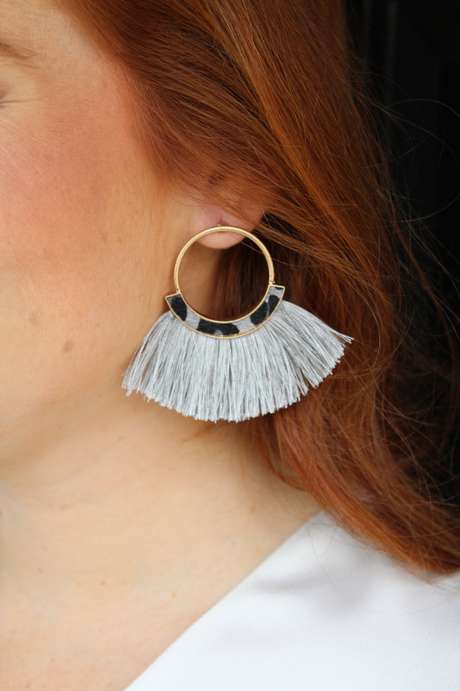 Simple Leopard Fringe Earrings - Gray