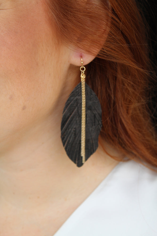 Cork Feather Earrings