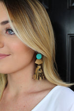 Aqua Leopard Tassel Earrings