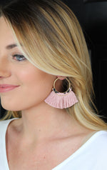 Simple Leopard Fringe Earrings - Blush