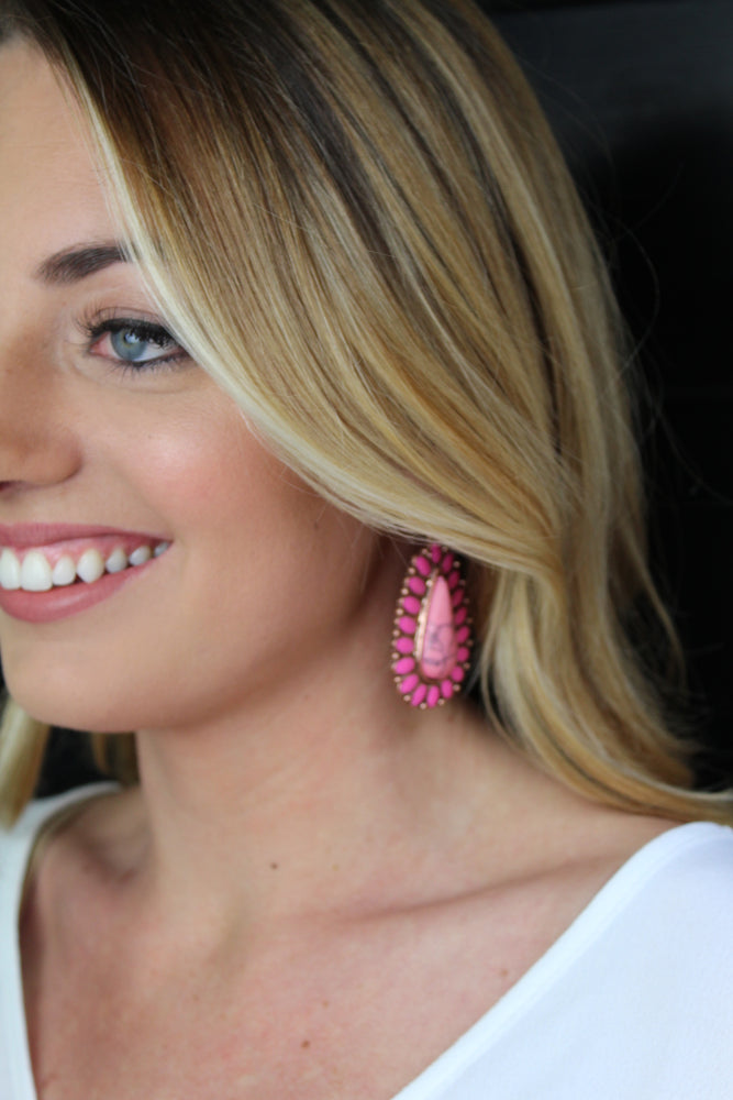Marble Pear Earrings - Pink