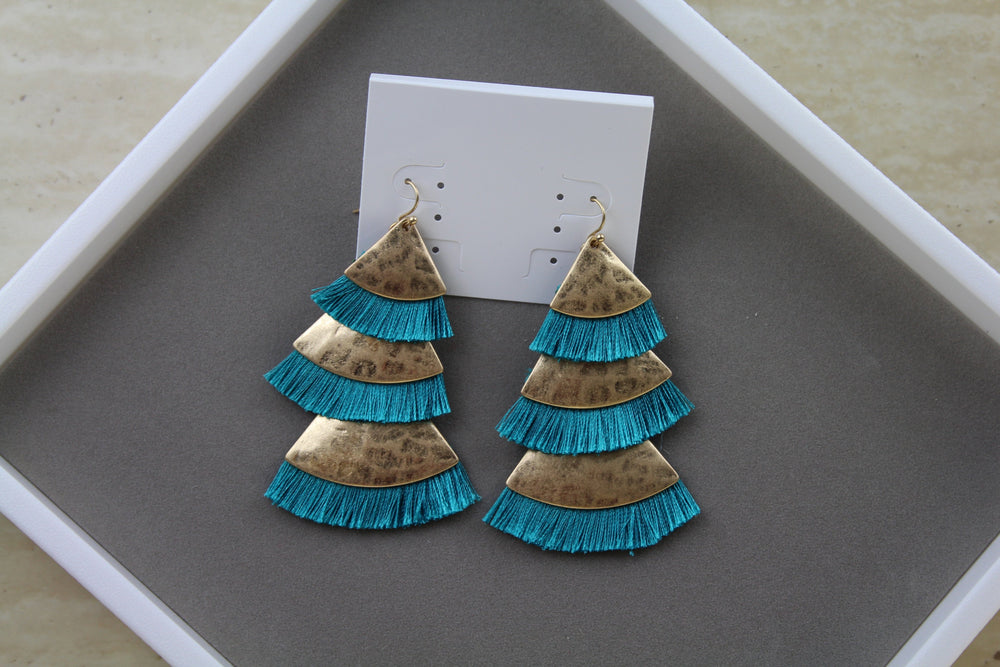 Drop Tassel Earrings - Turquoise