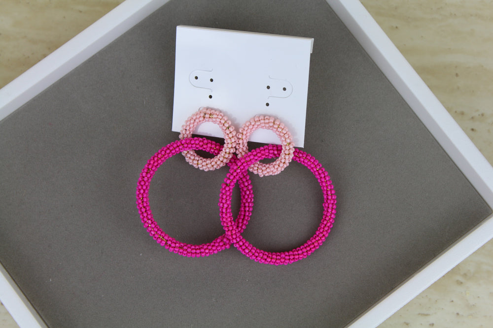 Large Loop Earrings - Pink
