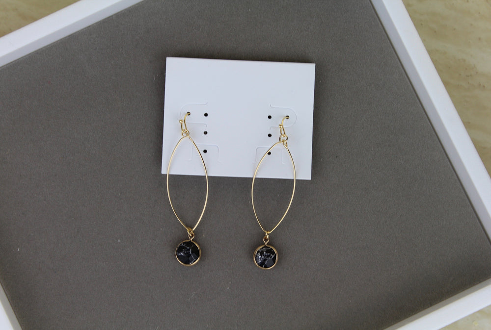 Single Stone Earrings - Black