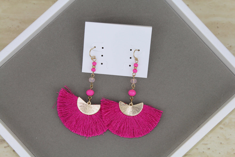 Big Fan Tassel Earrings - Pink