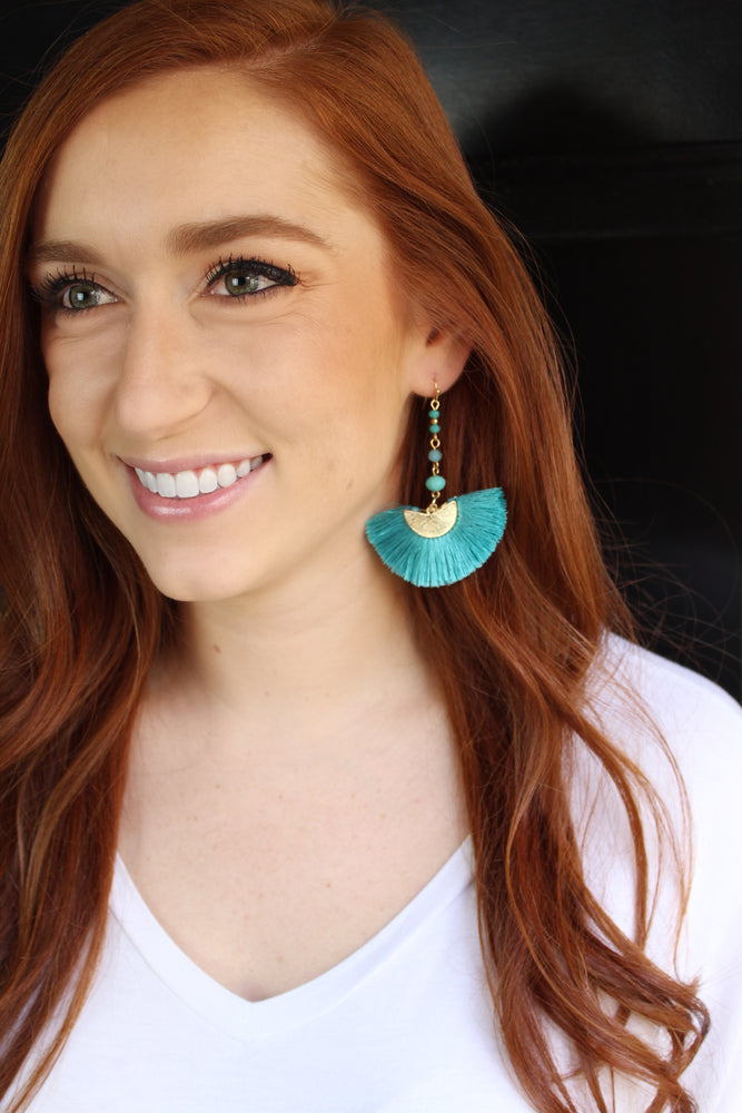 Big Fan Tassel Earrings - Aqua