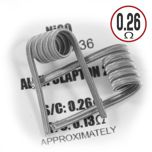 The alien Clapton coil is a de-cored Clapton, enfolded around a multi strand core. It is like a fused Clapton, but the external wrap has a very different texture. Aliens have a longer ramp-up time than fused Claptons because of their bigger external area.