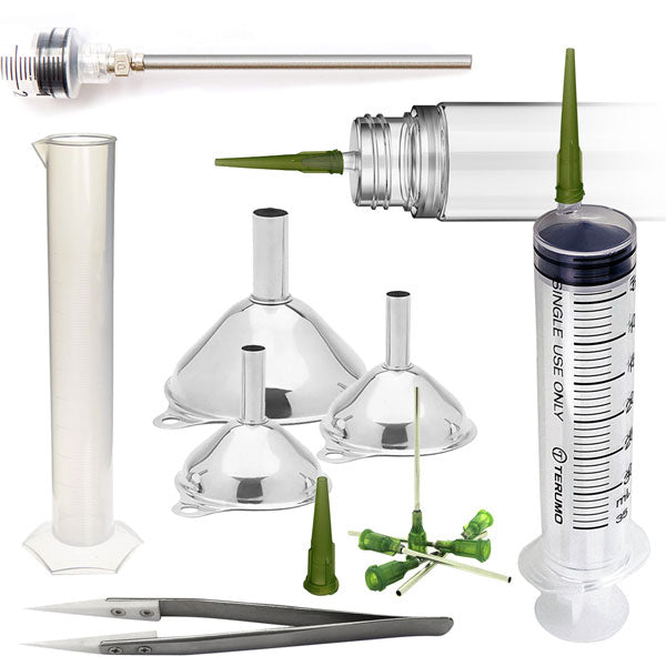 Making your own premium e-liquids and vape juice is easier than ever before with our collection of vape supplies. We proudly offer professional measuring dispensing, Explore our selection of syringes and blunt needle, graduated cylinders, vape bottles
