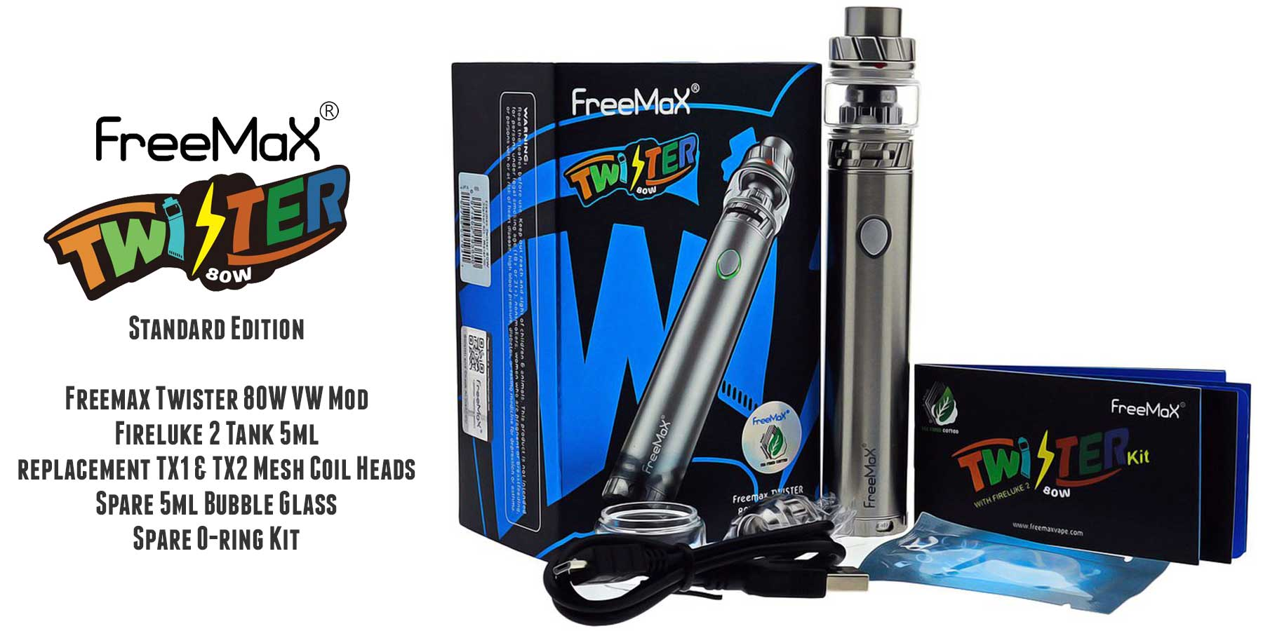 Newest TX1/TX2/TNX2/TX3/TX4 Mesh Coil of the Fireluke 2 are a perfect match with the Twister 80W Mod with 5-80W Variable Wattage Function, as the Fireluke 2 is able to reach a balance of the vapour and flavour at the range of 40-90 watts.