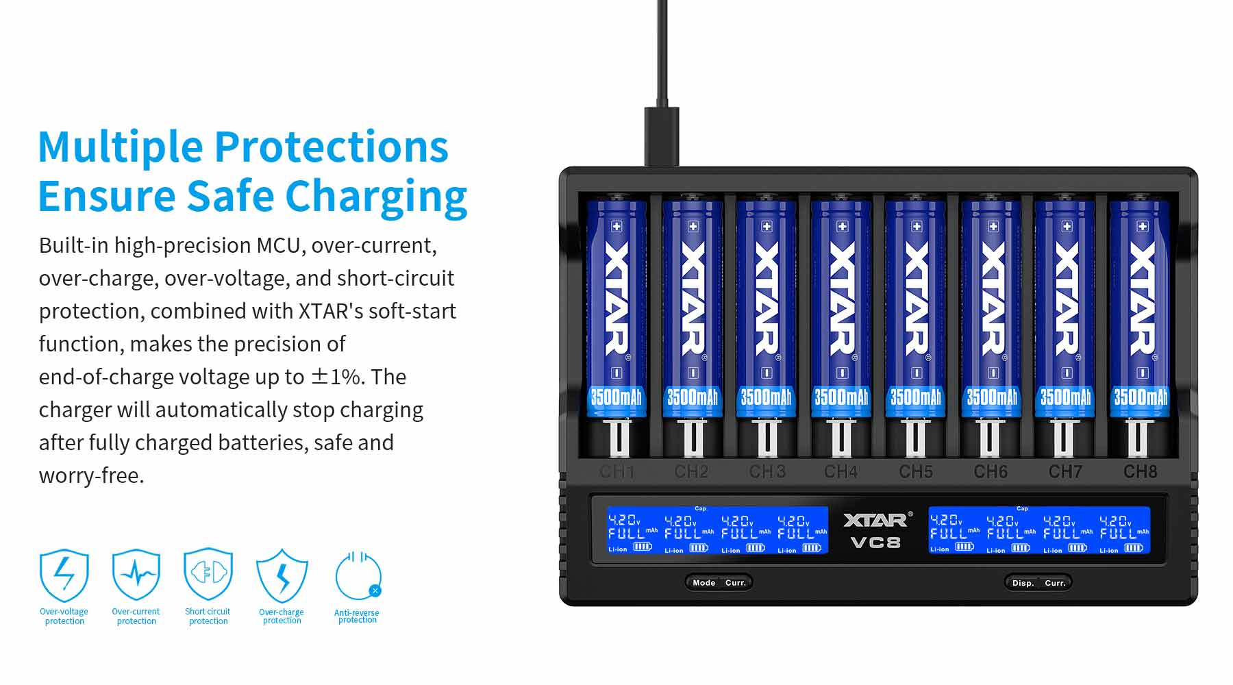 VC8 Charger has the smarts to know which sizes of lithium batteries can be charged at a higher rate, and which ones can't. Charge IMR 18650, IMR 18350, and a 14500. The two smaller capacity batteries got special treatment.