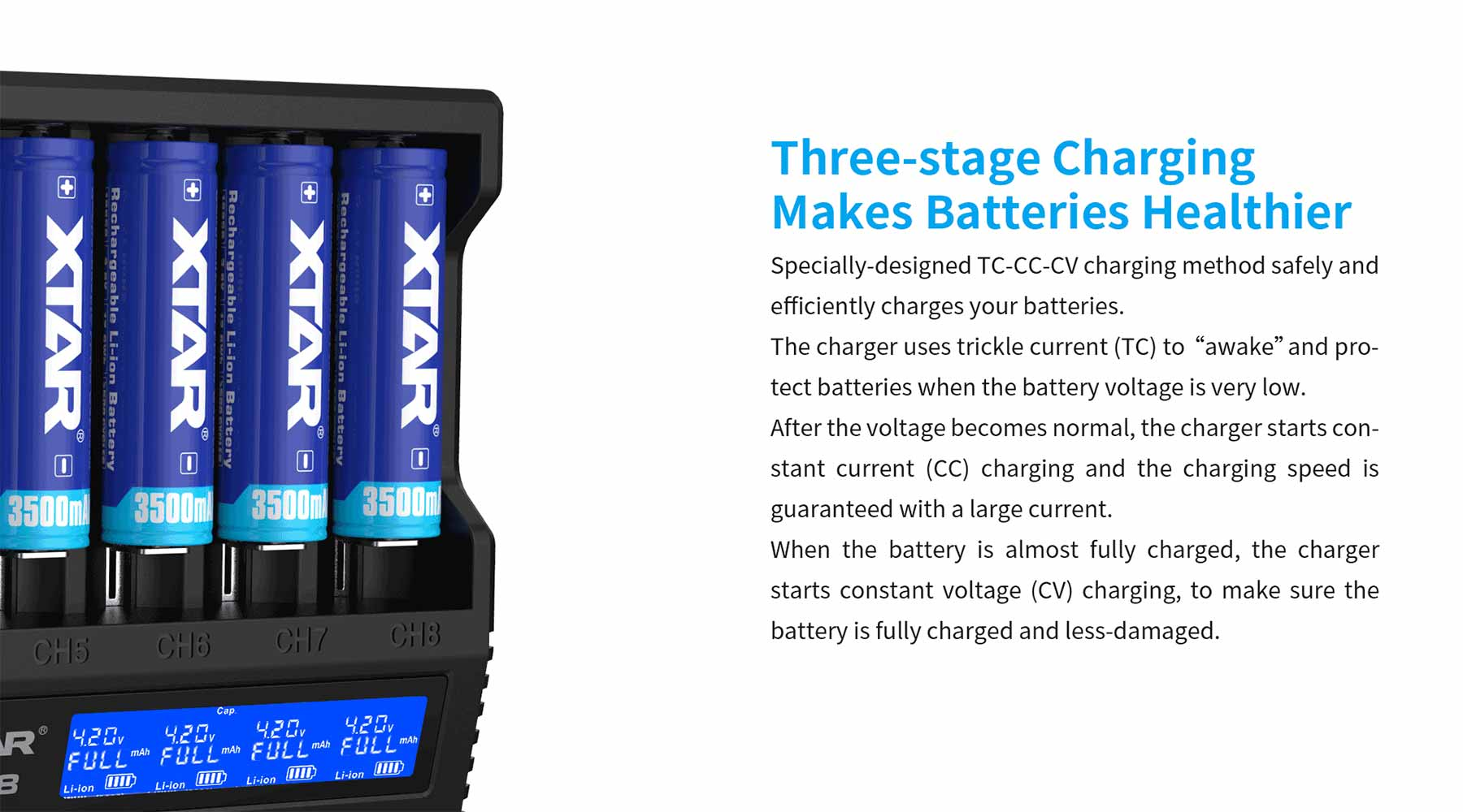 XTAR VC8 can charge 8 batteries at the same time at 0.5 A. Fits eight 21700 batteries fit perfectly side by side.