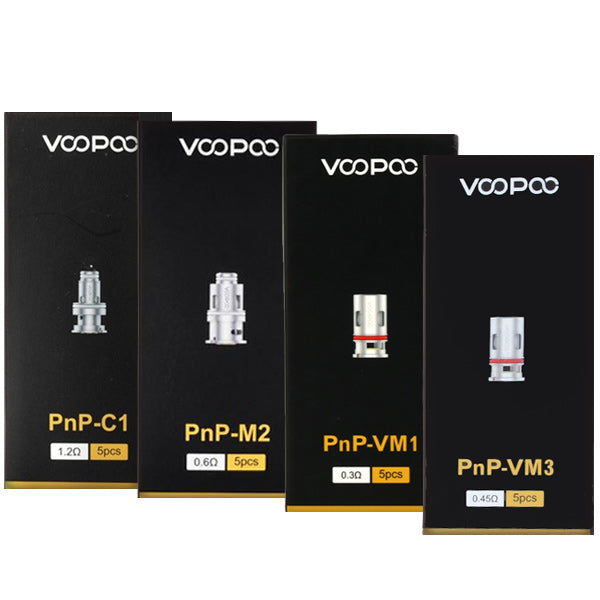 VOOPOO PnP replacement coils feature organic cotton wicking and a variety of coil head designs. From regular parallel coils to work with middle-range wattage and both standard and nic-salt based e-liquid, as well as single mesh coils for higher watts.