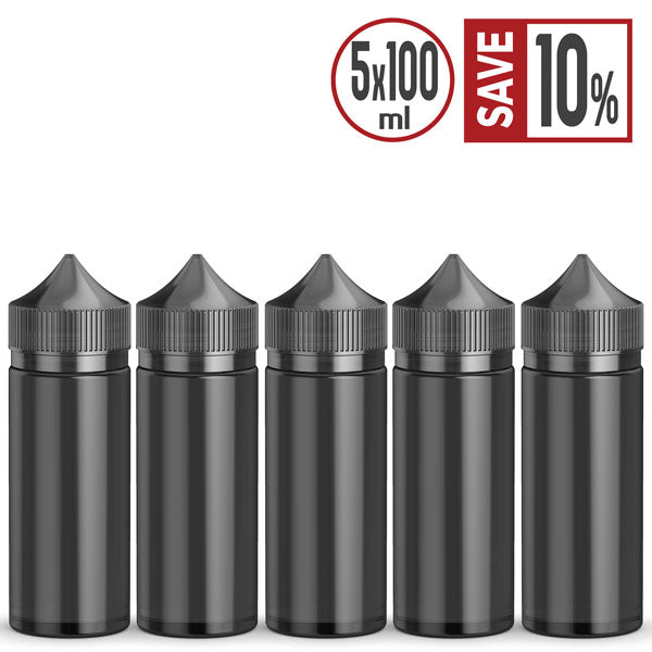 Buy 5 vape bottles and save 10%. 100ml Black Chubby Gorilla Style semi-transparent bottles are the perfect go-anywhere pocket companion for your All-Day-Vape e Liquid & e Juice. Made from Food Grade PET Plastic, Shatter & Leak Proof. Easy Squeeze bottles with a tapered nozzle for accuracy reducing messy mishaps.