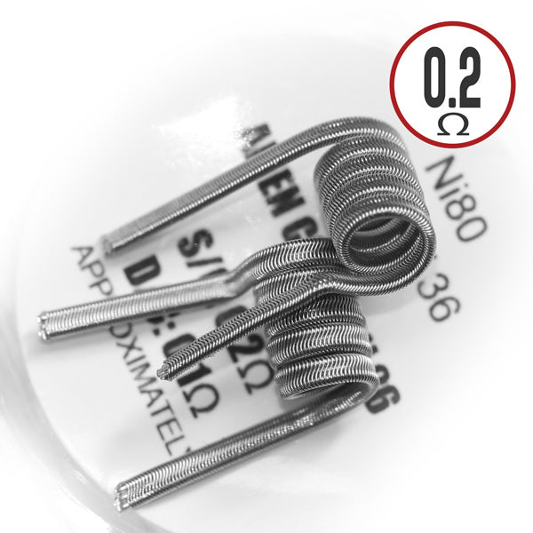 Prebuilt Alien Fused Clapton Coil are exotic and performance-ready precoiled designs that eliminate the time consuming hassle of wire configurations and provide the convenience of high-performance ready-built coils.